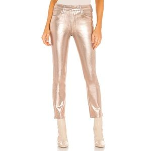 NWT MOTHER Mid-Rise Dazzler Ankle Driftwood Gold